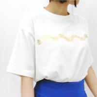 FREE LALA オーガニックコットンTシャツ ホワイト×ゴールド