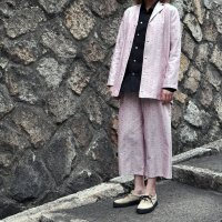 kitai Rounded long Jacket -flower pink-