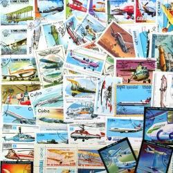 飛行機の使用済み切手10枚