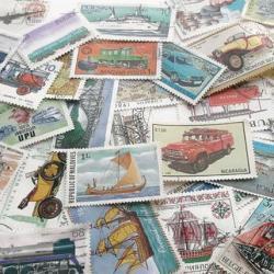 乗り物の使用済み切手10枚