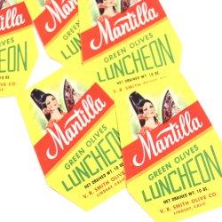 USA/デッドストック/ Mantilla/オリーブ瓶詰ラベル