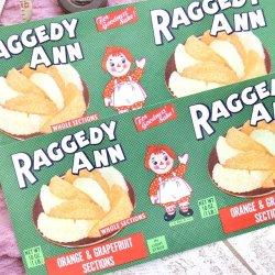 USA/デッドストック/RAGGEDY ANN/フルーツ缶ラベルセット