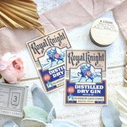 1930'sUSA/RoyalKnight/デッドストックドライジンラベル