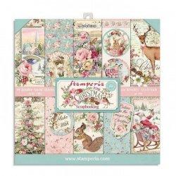 Stamperia/8x8インチペーパーパッド/Pink Christmas