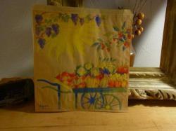 フランスのマルシェ袋【花とフルーツ】