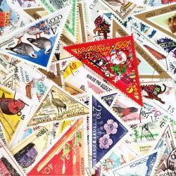 世界のトライアングル型の使用済み切手10枚