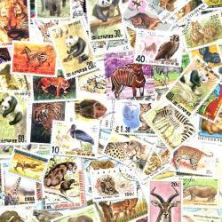 世界の動物の使用済み切手10枚