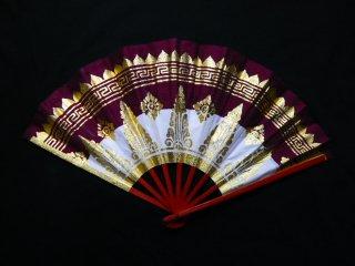 バリ舞踊 キパス31 小豆×白ツートン (バリダンス 扇子)