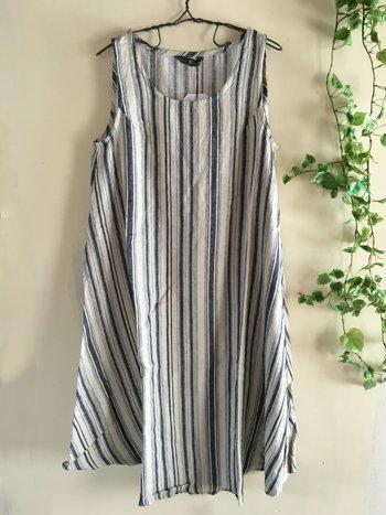 マルクドブロデュー(Marque de BRODEUSES,シュシュドママン) Cotton Linen stripe Sleeveless dressの商品写真です