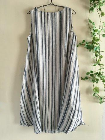 マルクドブロデュー(Marque de BRODEUSES,シュシュドママン) Cotton Linen stripe Sleeveless dressの商品写真2