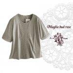 Maglia bud rose(マーリア バドローズ)レース使いカットソー グレー