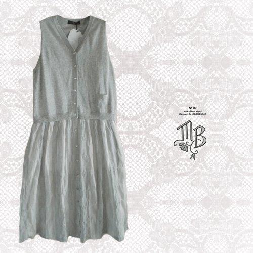Marque de BRODEUSES(マルクドブロデュー) コットンリネンストライプ スリーブレスドレスの商品写真です