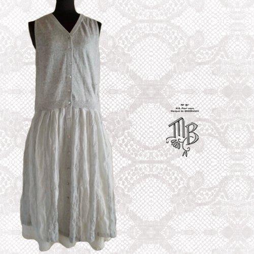 Marque de BRODEUSES(マルクドブロデュー) コットンリネンストライプ スリーブレスドレスの商品写真3