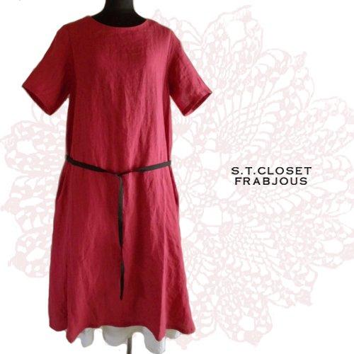 s.t.closet frabjous(エスティークローゼット フラビシャス) 黒ベルトリネンワンピ の商品写真3