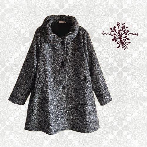 Maglia bud rose(マーリア バドローズ)ヘリンボーンギャザー襟コートの商品写真です