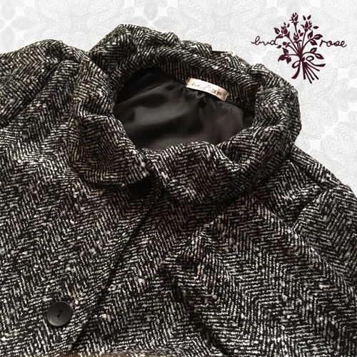 Maglia bud rose(マーリア バドローズ)ヘリンボーンギャザー襟コートの商品写真4