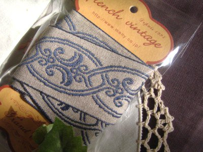 フランス製 刺繍リボン ブルーの商品写真です