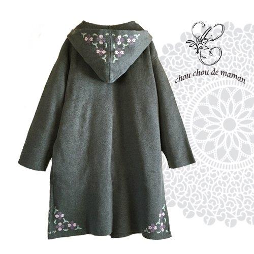 chou chou de maman(シュシュドママン)クロス刺繍 ニットコートの商品写真2