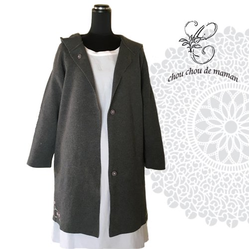 chou chou de maman(シュシュドママン)クロス刺繍 ニットコートの商品写真3