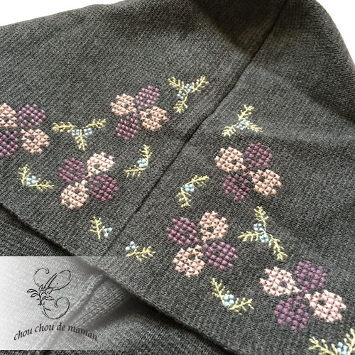 chou chou de maman(シュシュドママン)クロス刺繍 ニットコートの商品写真6