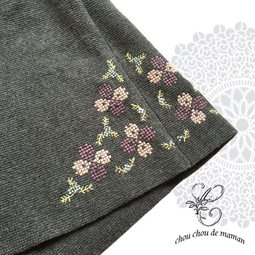 chou chou de maman(シュシュドママン)クロス刺繍 ニットコートの商品写真7