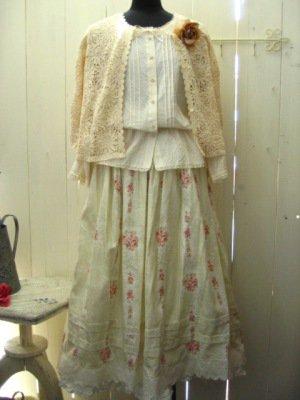 リリアンハウス フラワープリントスカート グリーンの商品写真4