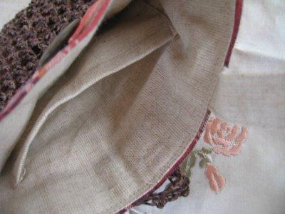まころん* 手染めヒマラヤヘンプ×綿麻チェック ミニバッグの商品写真3