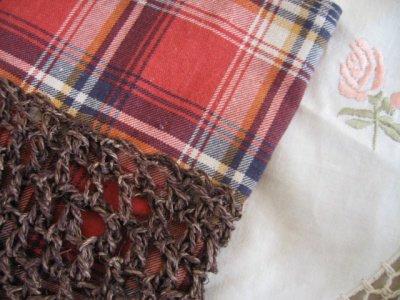 まころん* 手染めヒマラヤヘンプ×綿麻チェック ミニバッグの商品写真4