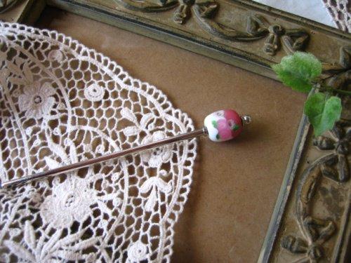 でざいん工房 Morningstar トンボ玉かんざし ピンクの商品写真です