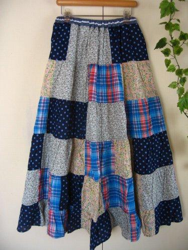 s.t.closet frabjous チェック×ドット パッチワークスカート ブルーの商品写真です