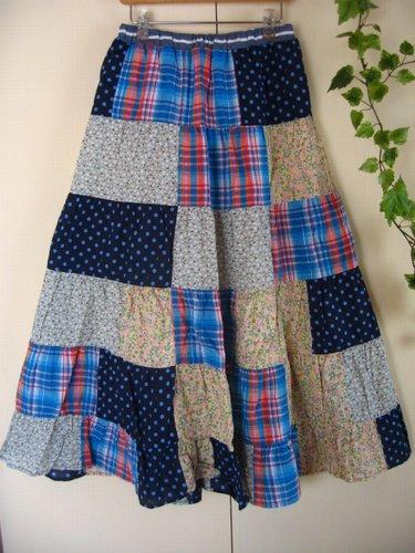 s.t.closet frabjous チェック×ドット パッチワークスカート ブルーの商品写真2