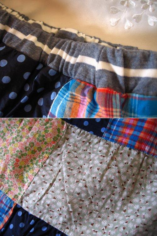 s.t.closet frabjous チェック×ドット パッチワークスカート ブルーの商品写真4