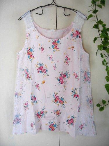 s.t.closet frabjous レースショルダー花柄タンクトップ ピンクの商品写真です