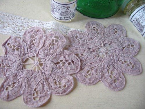 ティアラ バテンレース カラーミニフラワー グレイッシュピンクの商品写真です