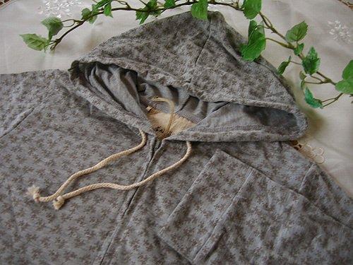 マシュカシュ 花柄七分袖パーカー グレーの商品写真3