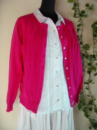 マシュカシュ カラーカーディガン ピンクの商品写真3
