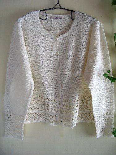 マーリア バドローズ 透かし編みコットンカーデの商品写真です