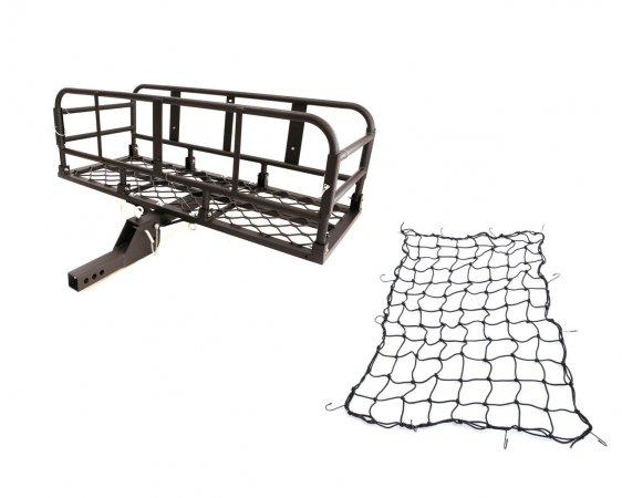 アルミ製 ブラック 折り畳み式ヒッチキャリアカーゴ ネット付き 軽量 C05 1200x500