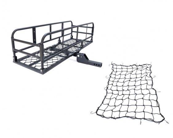 アルミ製 ブラック 折り畳み式ヒッチキャリアカーゴ ネット付き 軽量 C06 1500x500