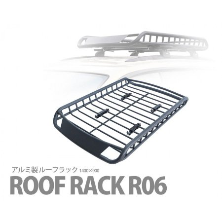 特価 アルミ製 ルーフラック カーゴラック ルーフバスケット ブラック R06 1400×900 取付使用動画あり