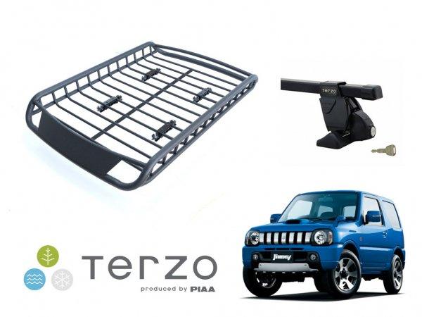 TERZO テルッツオ スズキ ジムニー JB23W (ルーフレール無車)用 ルーフキャリア取付3点セット&アルミ製ルーフラック マットブラック R06セット