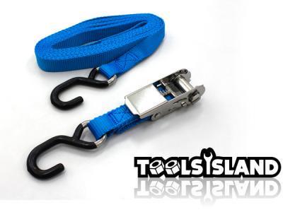 【安心安全確保の必需品】ステンレス製ラチェット式タイダウンベルト 色:青