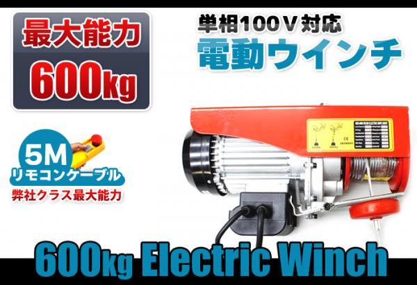 100V 電動ウインチ(ホイスト)能力600kg リモコンコード5M仕様(簡易日本語説明書付き)