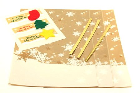 クリスマスラッピング 小 3枚入  フェルトシール