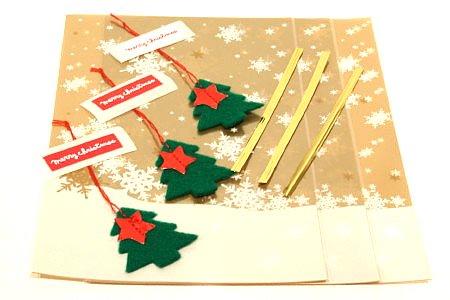 クリスマスラッピング 小 3枚入  フェルトアクセサリー