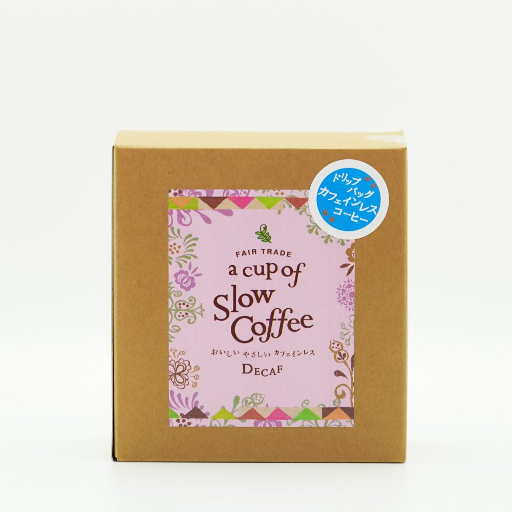 a cup of SlowCoffee <br>おいしいやさしい<br>カフェインレス<br>(4パック入り)