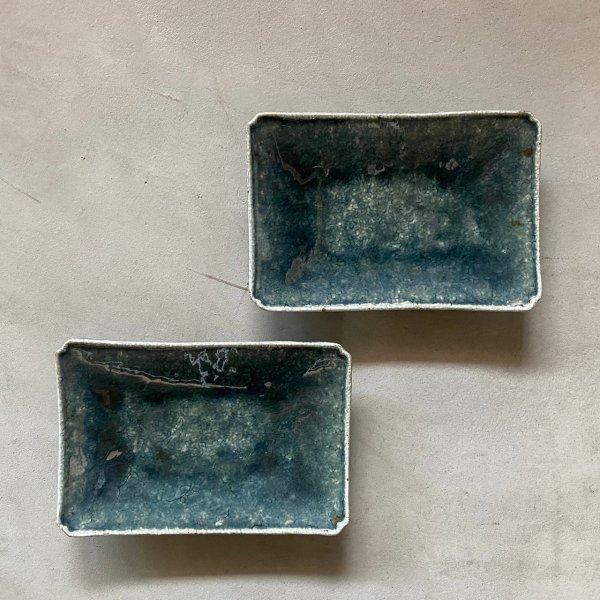 長角皿 (緑)