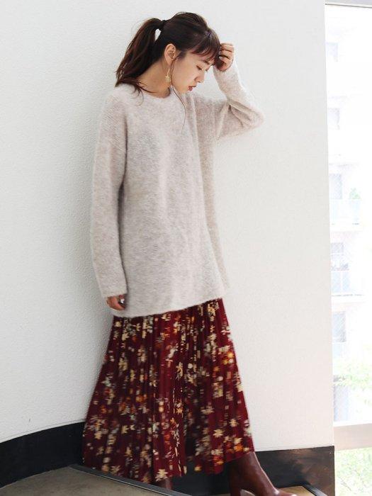UNGRID アングリッド 【La】フラワープリントプリーツスカート 111750833601 【17AW1】【新作】