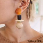 【SOLDOUT】TODAYFUL トゥデイフル Wood Mix Earring 11720959 【17AW2】【60☆】