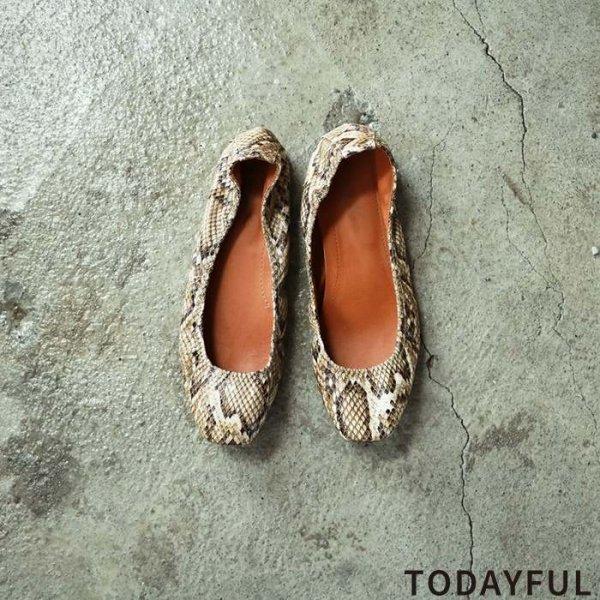 TODAYFUL トゥデイフル Python Flat Shoes 11821070 【18AW2】【先行予約】【クレジット限定 納期10月〜11月頃予定】